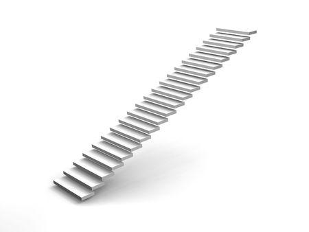 corporate ladder: white stairway Stock Photo