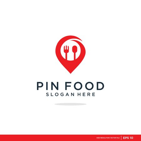 Food point logo set consisting of spoon, fork and pin use for cafe
