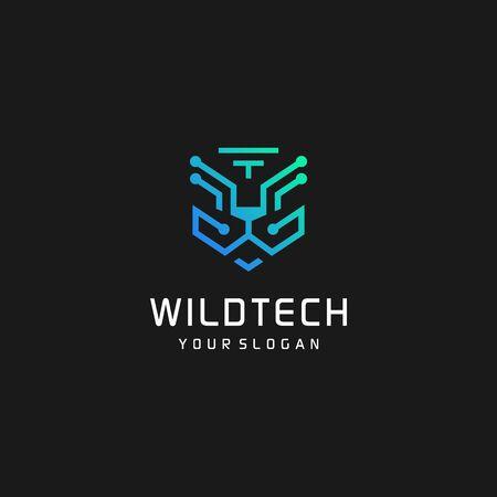 Wild tech big cat logo design illustration Premium Vector