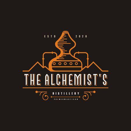 Illustration du logo de la distillerie, vintage, marque Vecteur Premium