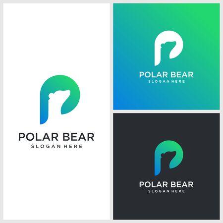 Modern gradient polar bear logo illustration Premium Vector