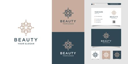 Beauty logo and business card design illustration. Beauty, fashion, salon, spa, yoga, flower Premium Vector