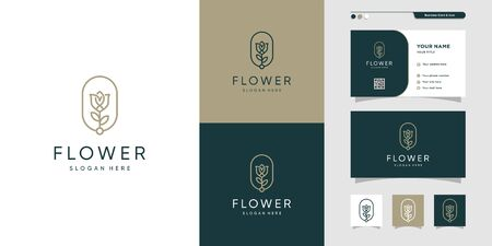 Flower logo and business card design. Beauty, fashion, salon, Premium Vector