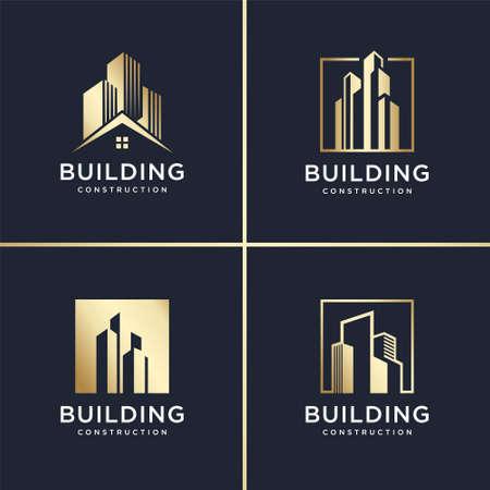 Building abstract Logo set, golden, modern, concept, gradient, real estate, Premium Vector