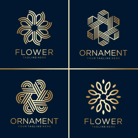 Golden flower and ornament logo collection, line art, gold, beauty, decoration, icon Premium Vector
