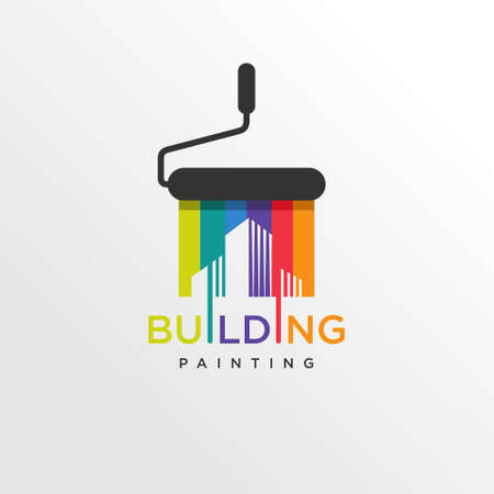 Cool building paint logo style, modern, paint, painting, construction, company, business, Premium Vector Logo