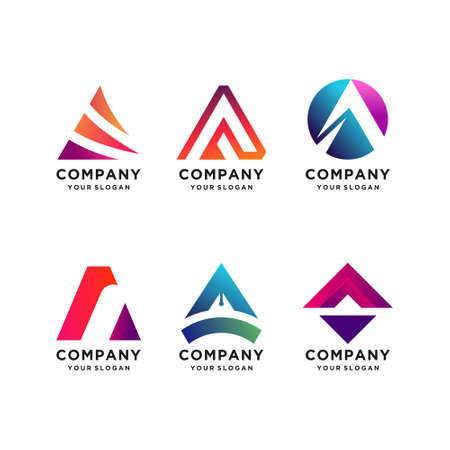 Letter A logo design collection, modern, gradient, abstract, letter Premium Vector Logo