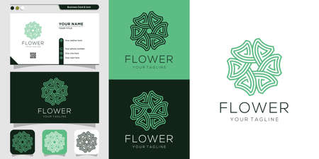 Flower logo and business card design template. Beauty, fashion, salon, business card, spa, icon Premium Vector