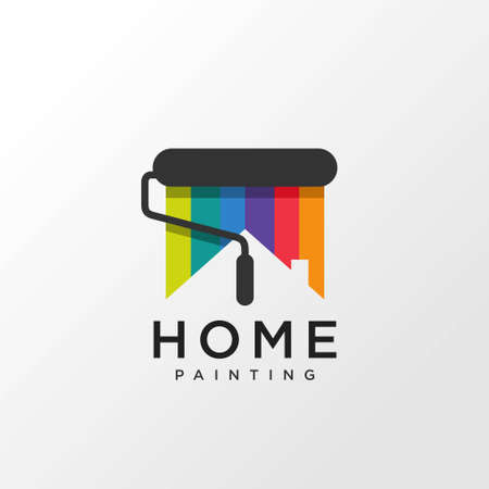 Home painting logo design concept with rainbow color, Premium Vector Logo