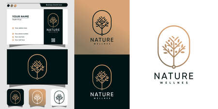 Nature beauty logo and business card design template, beauty, health, spa, yoga Premium Vector