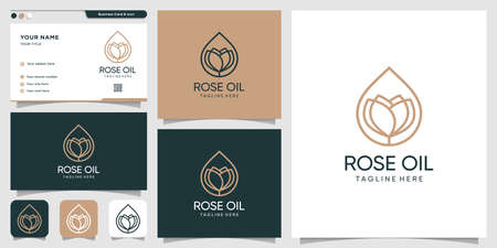 Rose oil logo design with line art style and business card design template, Beauty, spa, nature, Premium Vector