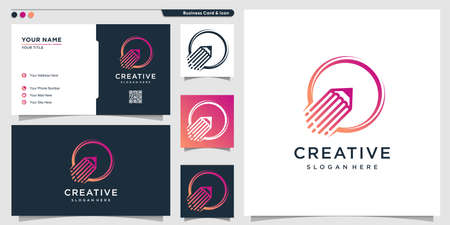 Pencil logo with rocket style and business card design template Premium Vector