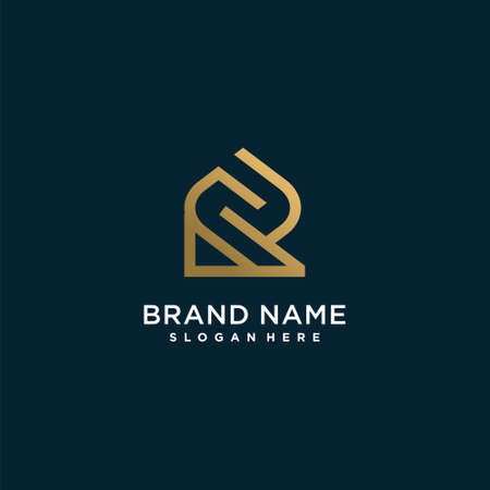 Letter logo with initial R, golden, technology, company, business, concept, Premium Vector Part 10 Logo