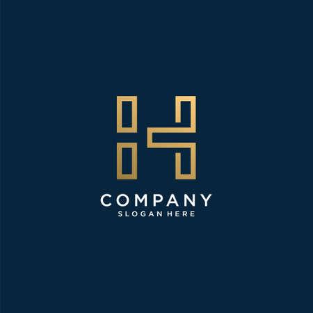 Logo letter A with golden line art style, unique, premium, vector part 1