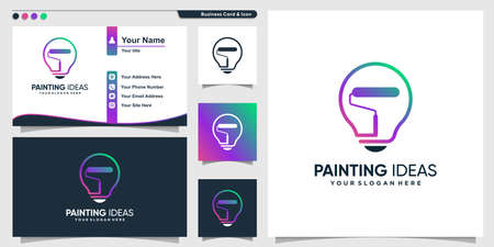 Painting logo with smart idea line art style and business card design template, painting, work, idea, template, Premium Vector