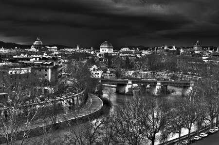 tiber: bridge on the Tiber river Stock Photo