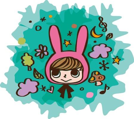 cute rabbit kid