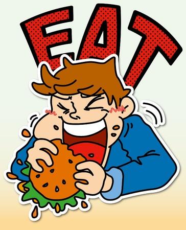 A boy eating  hamburger
