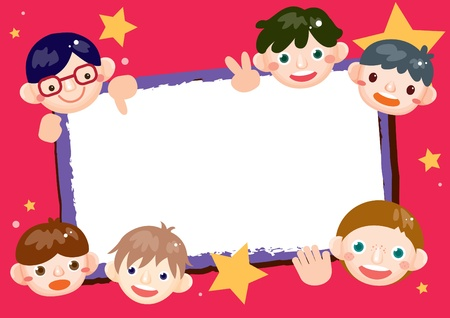 cute border: the boys frame Illustration