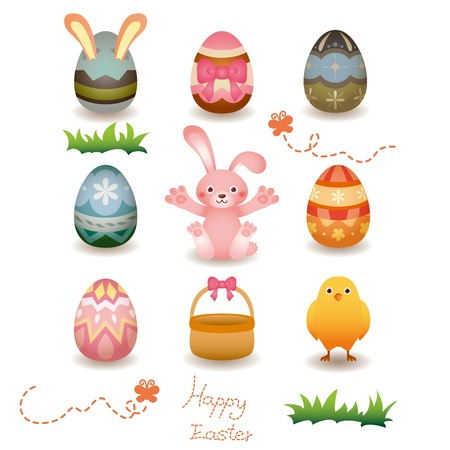 Cartoon Easter Egg and bunny icon Illustration