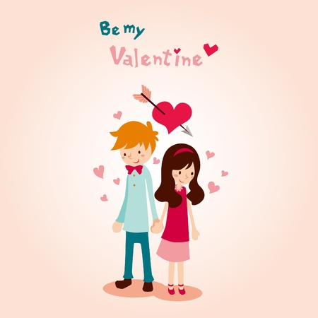 teenagers love: Be my Valentine Illustration