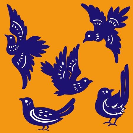 birds Paper-cut Stock Vector - 12163564