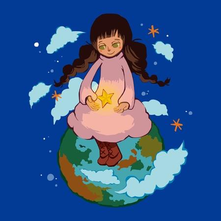 여자는 지구 행성에 앉아 일러스트