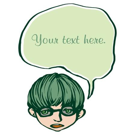 message box: A boy announcement with speech bubble