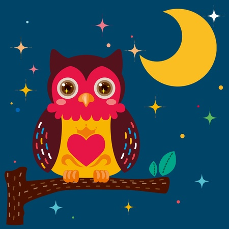 Cute owl against a star night sky