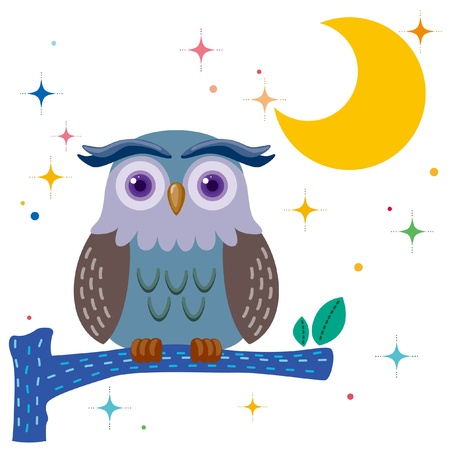 cartoon owl: Old owl against a star night sky Illustration