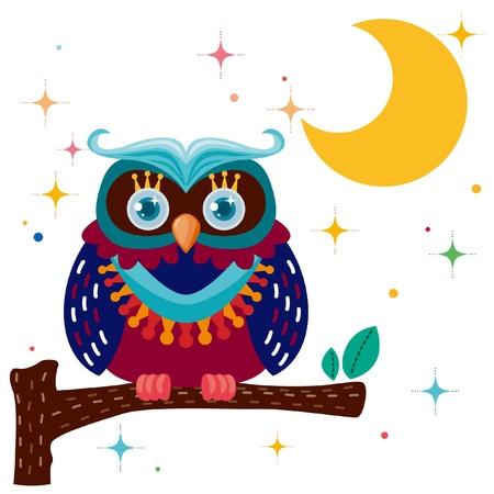 King owl against a star night sky
