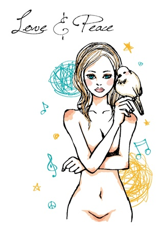 naked female body: beautiful lady with a dove Illustration