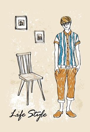 stylish boy:  Fashion boy in sketch-style Illustration