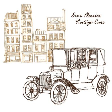 illustration vintage car with buildings Illustration