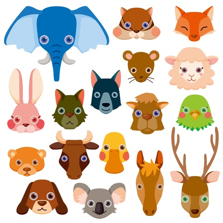 Animal head icons Stock Vector - 12467271