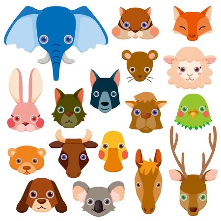 Iconos de animales en la cabeza Foto de archivo - 12467271