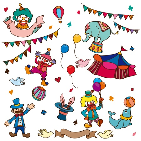 cartoon happy circus show icons collection Illustration