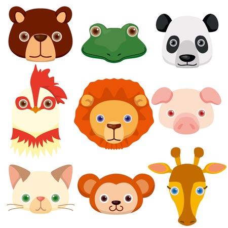 Iconos de animales en la cabeza Foto de archivo - 12467283