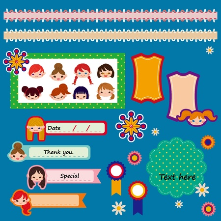 set of cute scrapbook elements  illustration