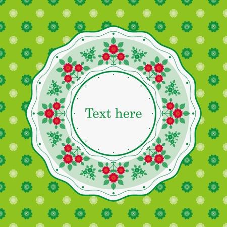 Elegance Seamless color flowers pattern on green background, vector illustration  Illustration