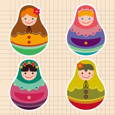muñecas rusas: Pegatinas muñecas rusas Vectores