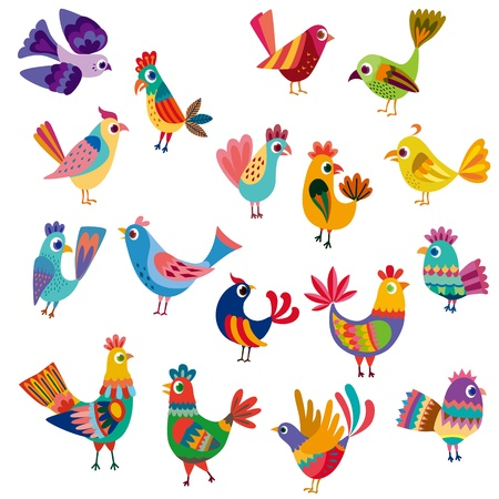 Cute birds and chicks Vector