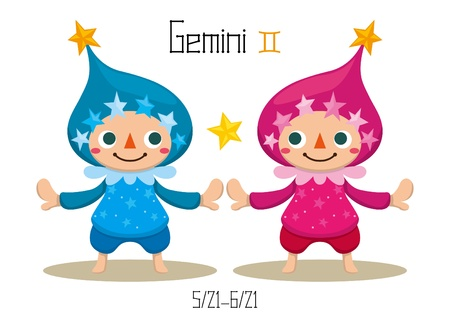 Illustration of the 12 Constellations - Gemini