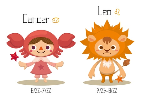 constelaciones: Ilustración de las 12 Constelaciones - Cáncer y Leo.