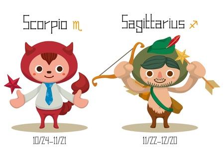 constelaciones: Ilustración de las 12 Constelaciones - Escorpio y Sagitario.