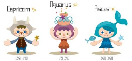 염소 자리, 물병 자리 및 자리, 물고기 자리 - 12 별자리의 그림