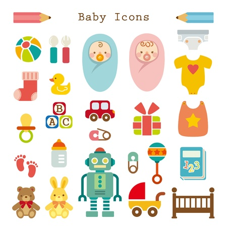girls feet: Baby icons set Illustration