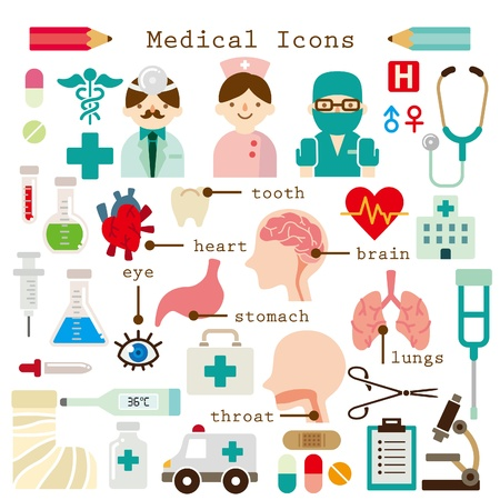 clinical thermometer: medical icons set