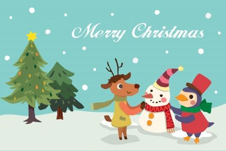 Winter Christmas card with animal Illustration