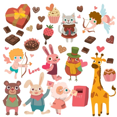 valentines with cute animals  Vector